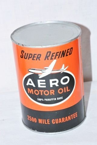 Aero Motor Oil One Quart Metal Can.