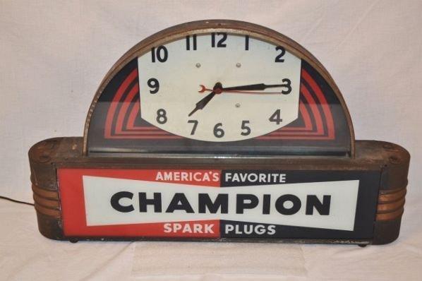 Champion Spark Plug Art Deco Lighted Clock.