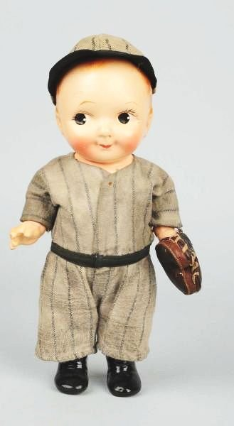 Buddy Lee Baseball Player Doll in Stripes.