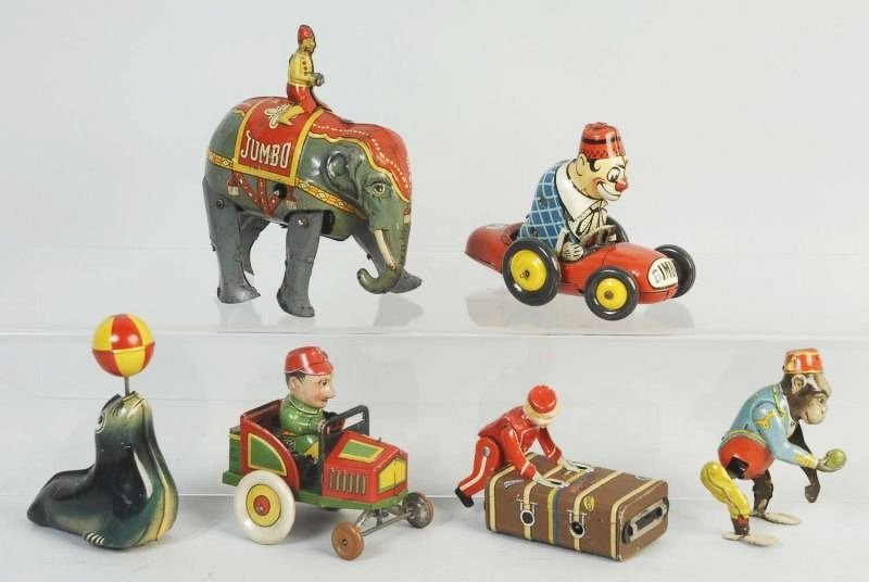 Lot of 6: German Tin Wind Up & Friction Toys.