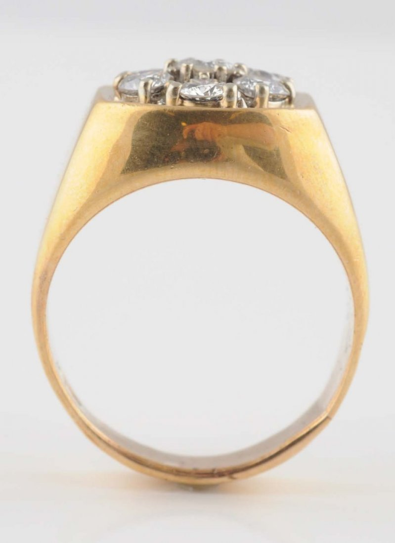 14K Two-Tone Mans Diamond Cluster Ring.