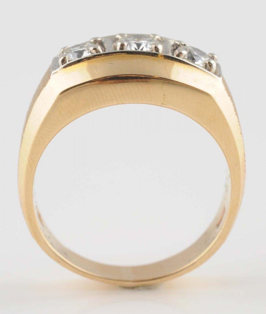 10K Yellow Gold In-Line Diamond Ring.