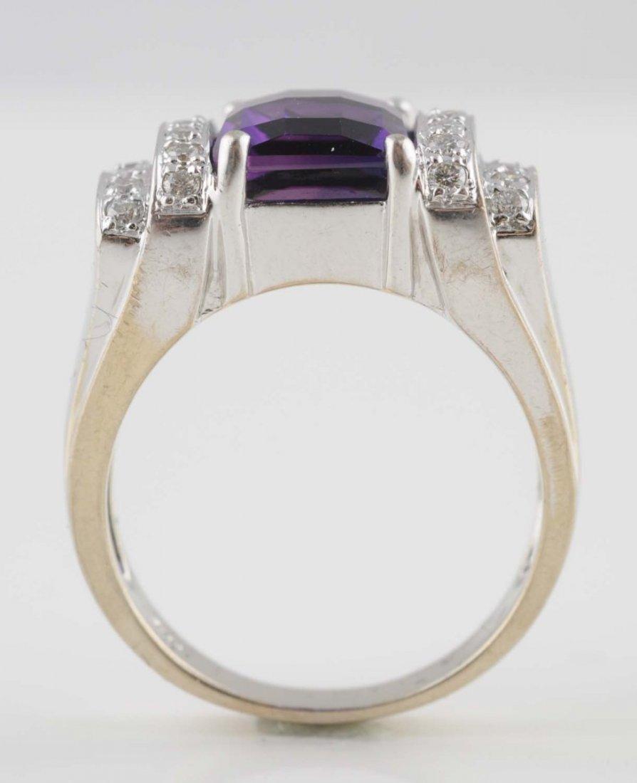 14K White Gold Amethyst & Diamond Ring.
