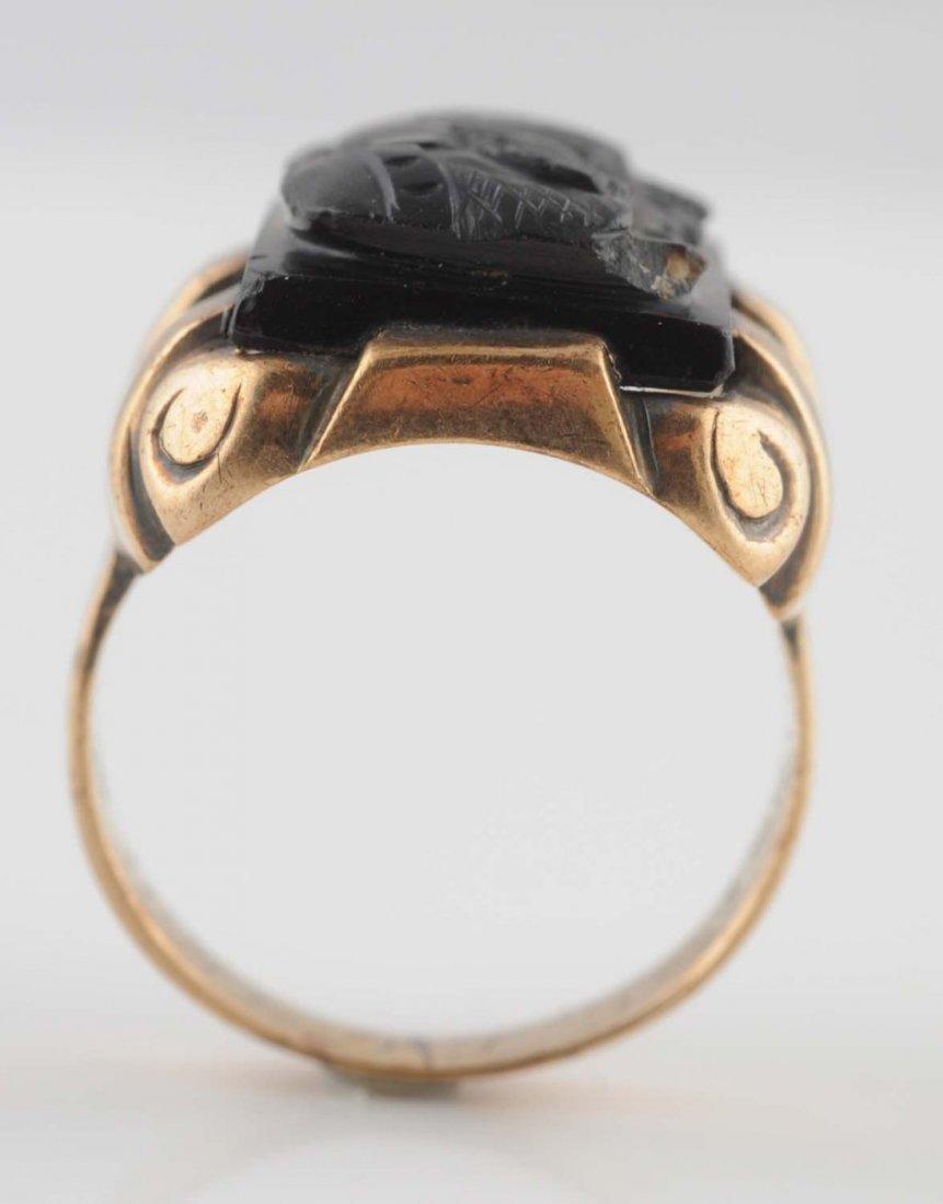 10K Yellow Gold Black Onyx Cameo Ring.