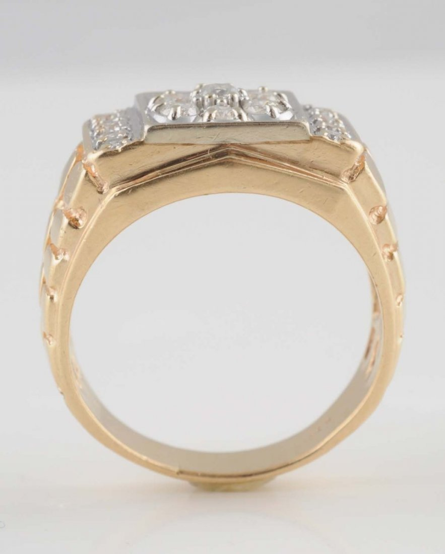 14K Y. Gold Nugget-Texture Diamond Cluster Ring