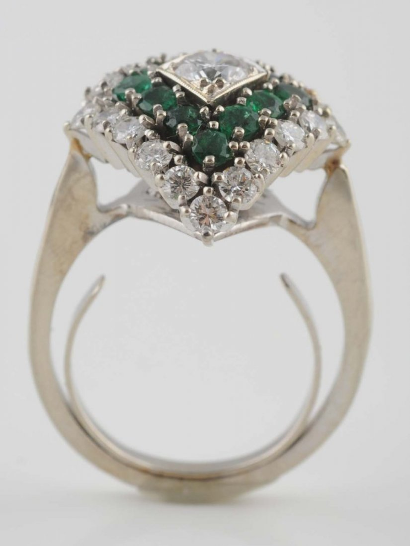 14K White Gold Emerald Ring.