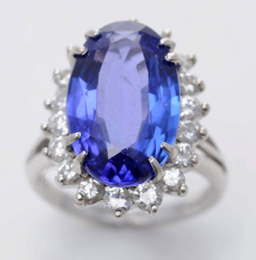 14K W. Gold Diamond & Tanzanite Ring.