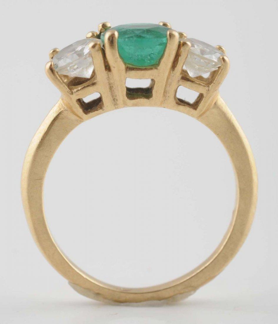 18K YG Emerald & Diamond Ring.