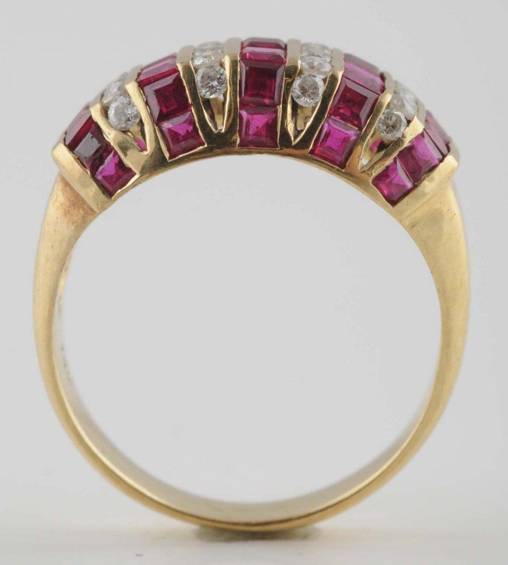 14K YG Diamond & Ruby Ring.