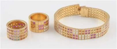 18K YG Diamond  Ruby Ladies Cartier Bracelet