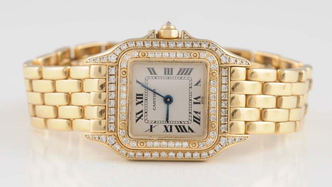 18K YG Cartier Ladies Diamond Watch.