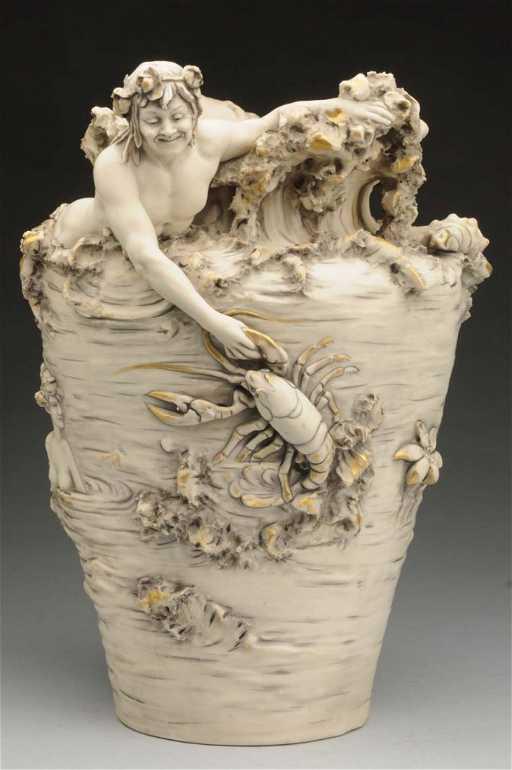 Large Royal Dux Bohemia Sea Vase