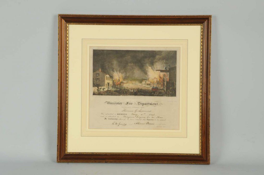 Lot of 3: Fireman Certificates and a Horse Print.