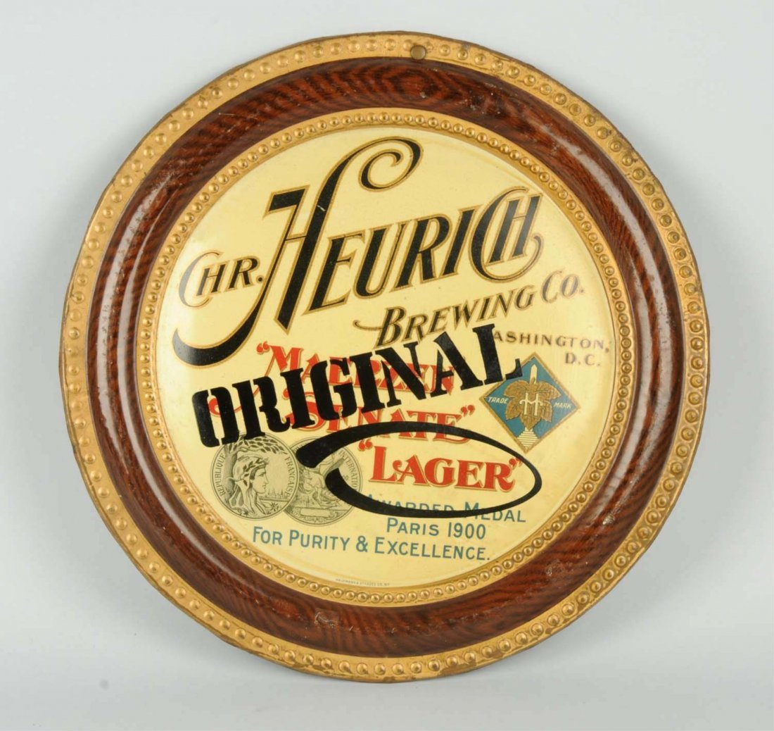 Heurich Brewing Co. Tin Sign.