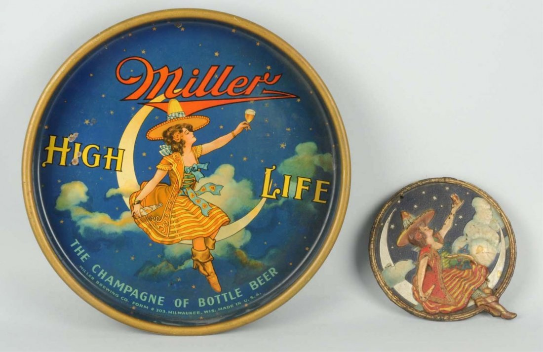Miller Beer Tray & Small Embossed Plaque.