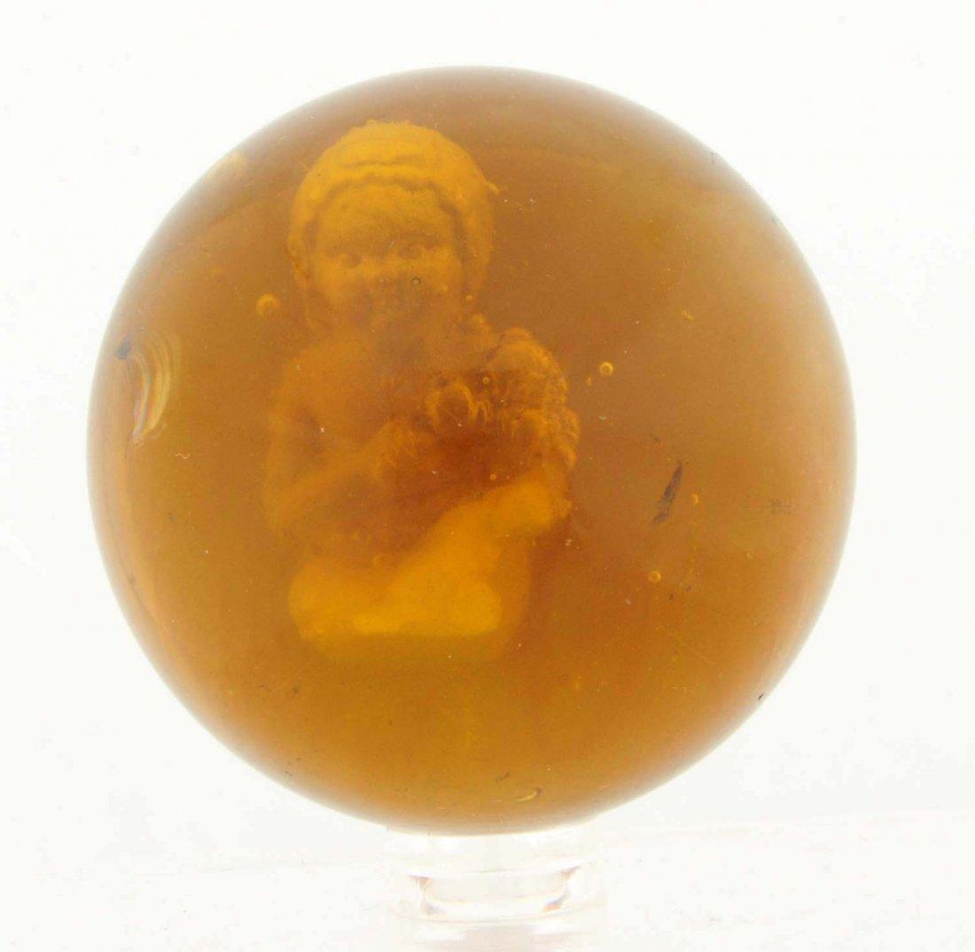 Amber Glass Girl Bathing Sulfide Marble.