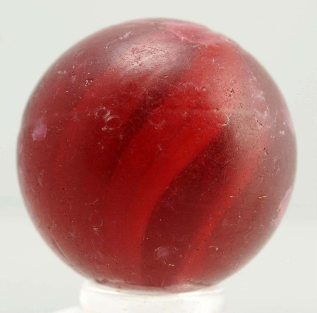 Red Glass Swirl Marble.