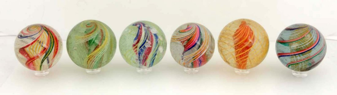 Lot of 6: Large Swirl Marbles.