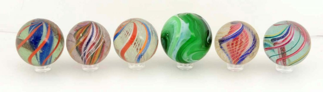 Lot of 6: Large Marbles.