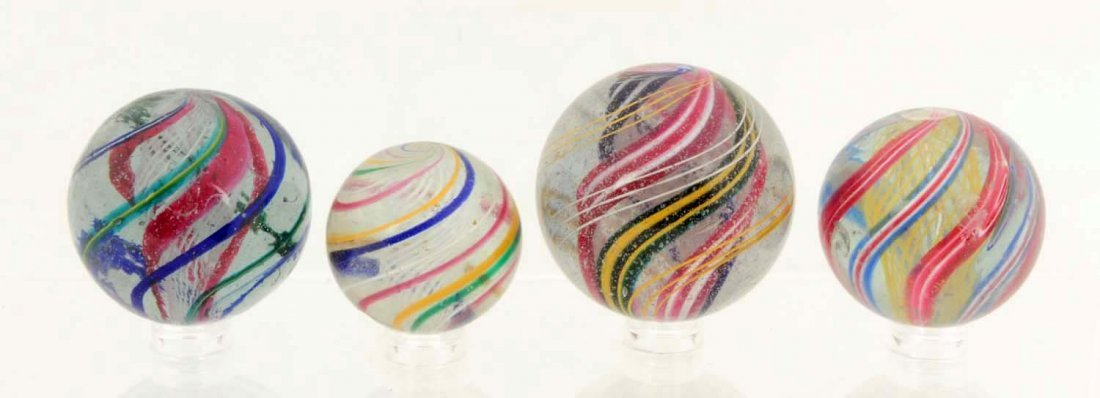 Lot of 4: Assorted Swirl Marbles.