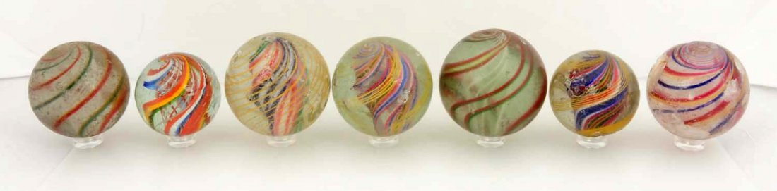 Lot of 7: Large Swirl Marbles.