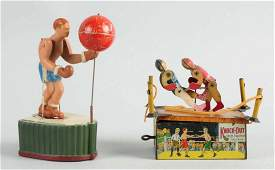 Lot of 2: Tin & Composition Wind-up Boxing Toys.