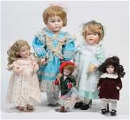Lof of 5: Artist & Reproduction Porcelain Dolls.
