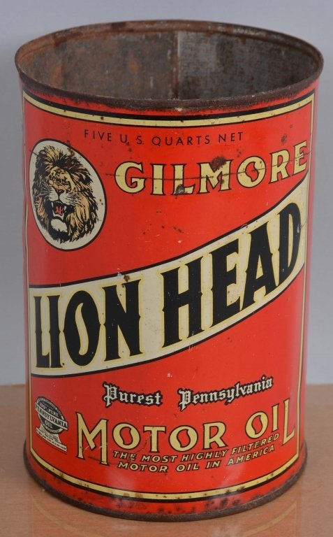 Gilmore Lion Head Motor Oil Can.