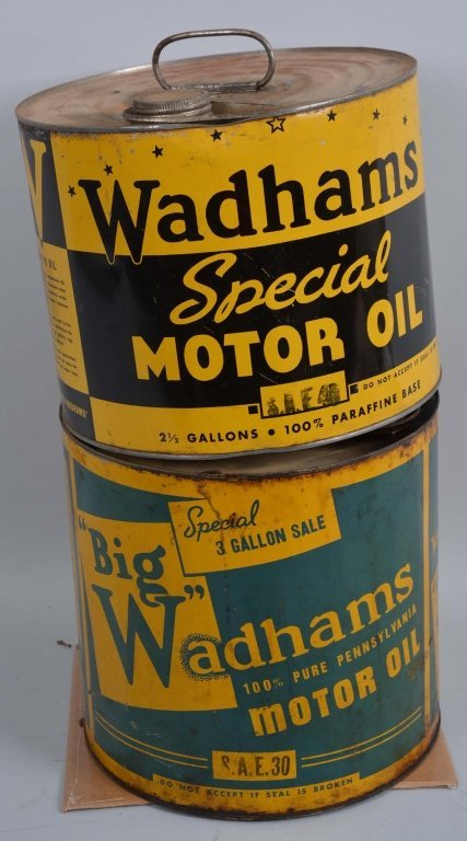 Wadhams Motor Oil 2 & 3 Gallon Round Metal Cans.