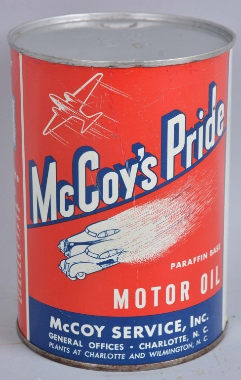 McCoy's Pride Motor Oil One Quart Round Metal Can