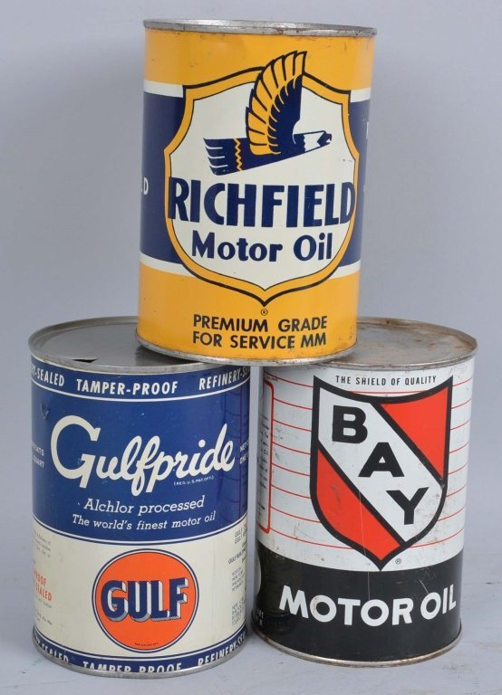 Lot of 3: One Quart Motor Oil Round Metal Cans.