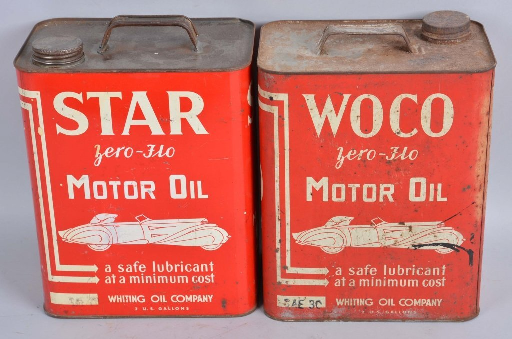 Lot of 2: Star & Woco Motor Oil Rectangle Cans.