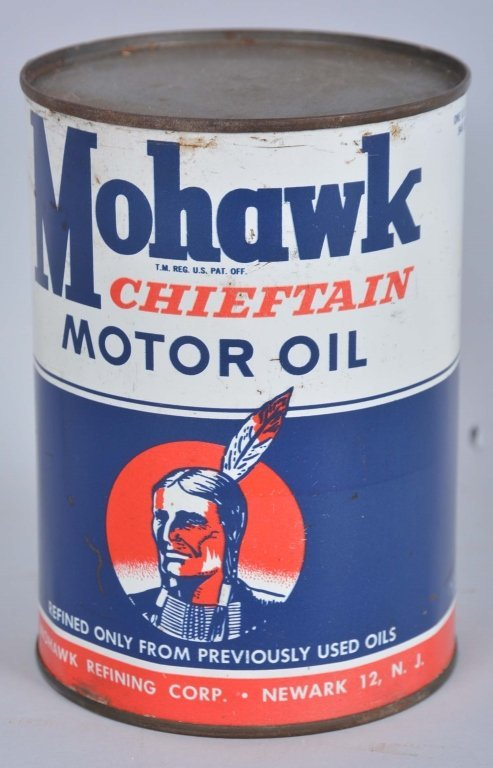 Mohawk Chieftain Motor Oil Round Metal Can.