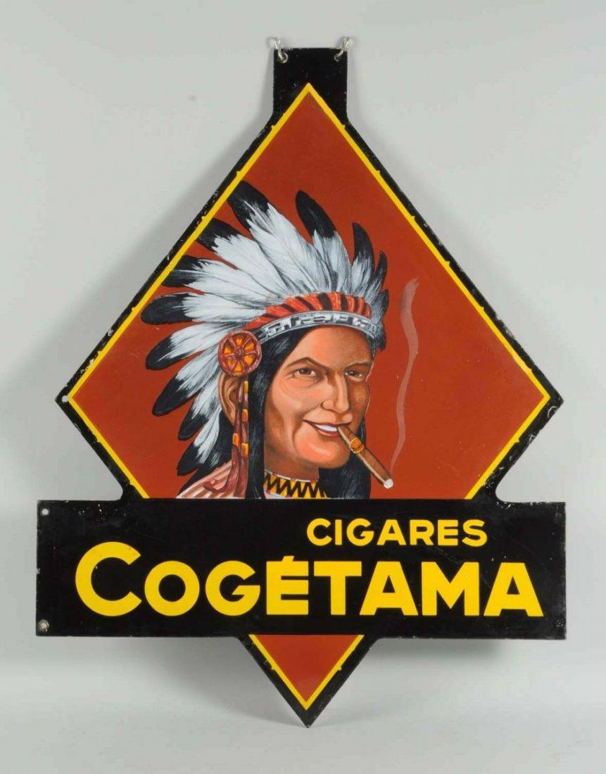 Cogetama Cigars Two Sided Porcelain Cutout Sign.