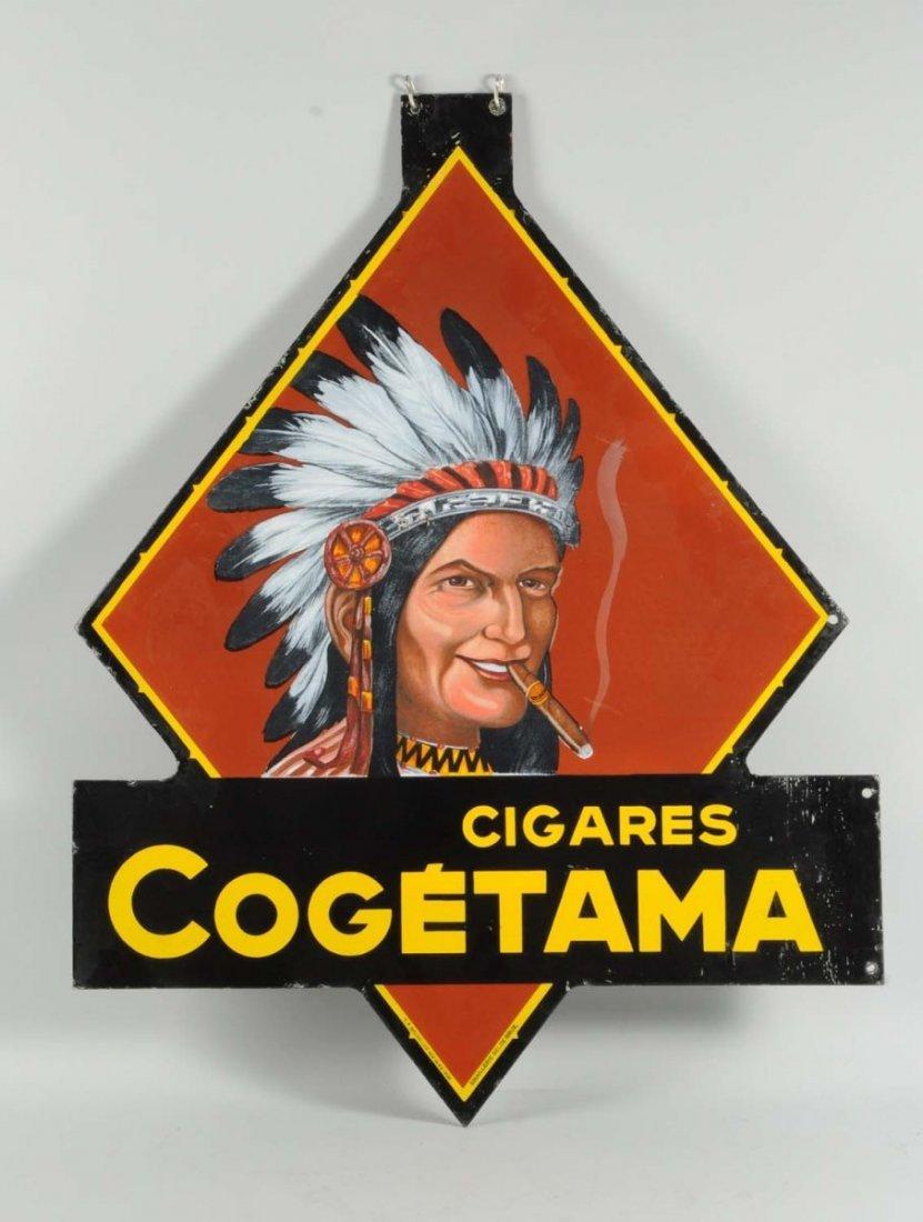 Cogetama Cigars Two Sided Porcelain Cutout Sign. - 2