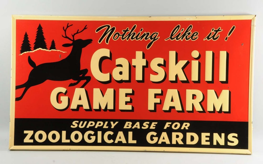 1930s-1940s Catskill Game Farm Embossed Tin Sign.