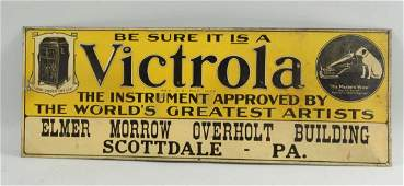 Early Victrola Phonograph Embossed Tin Sign.