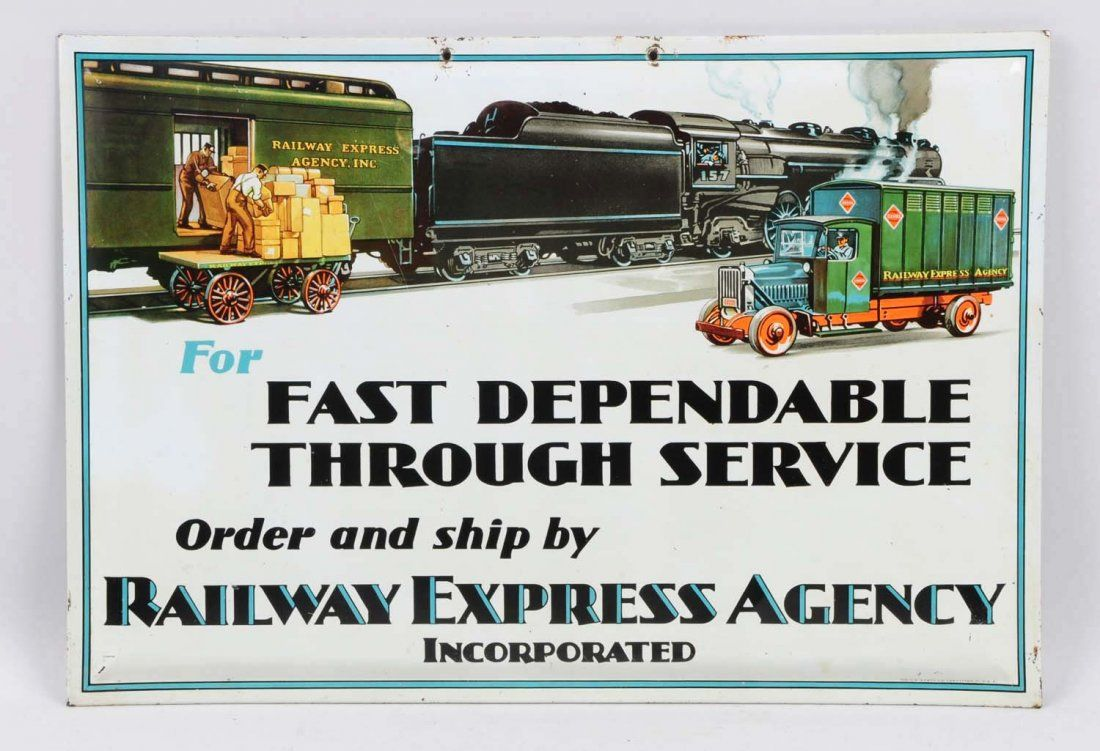 1920s � 1930s Railway Express Agency Tin Sign.