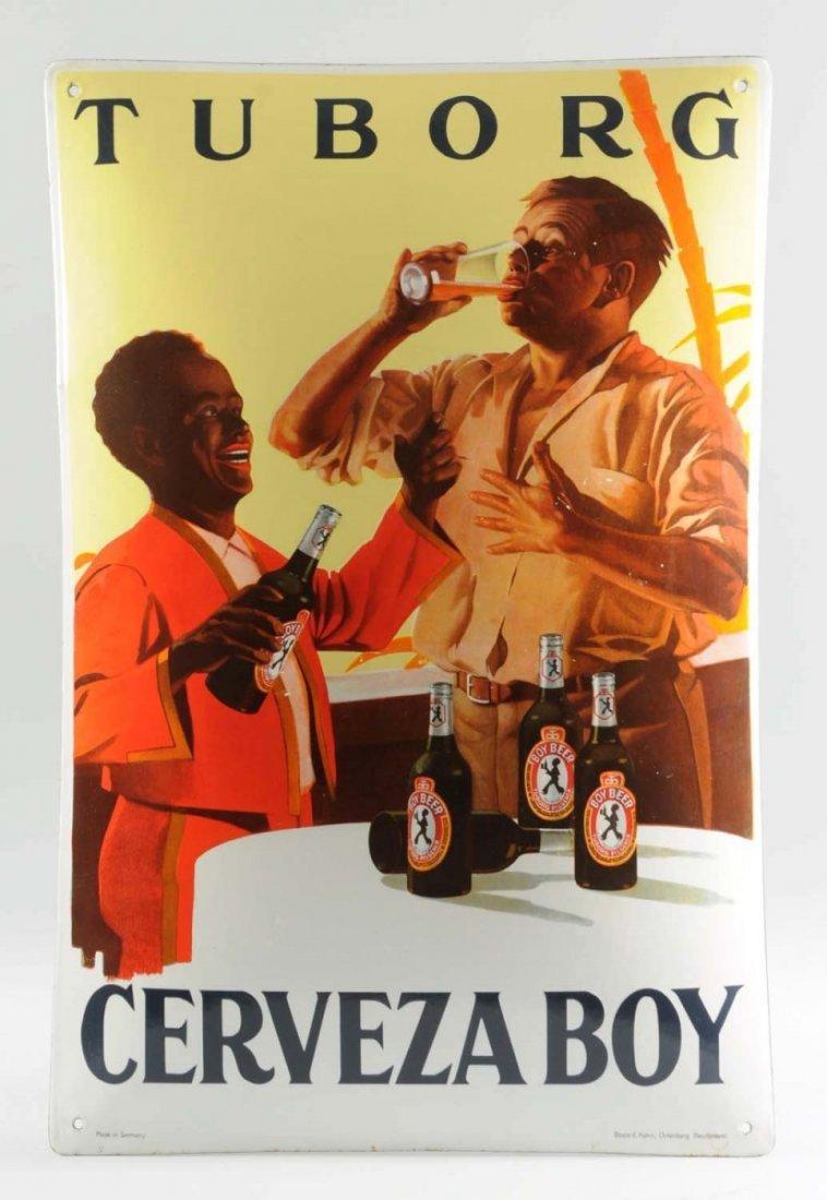 German Porcelain Tuborg Boy Beer Sign.