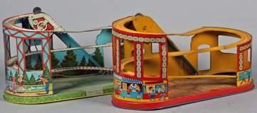 Lot Of 2 Vintage Litho Tin WindUp Roller Coaster Toys