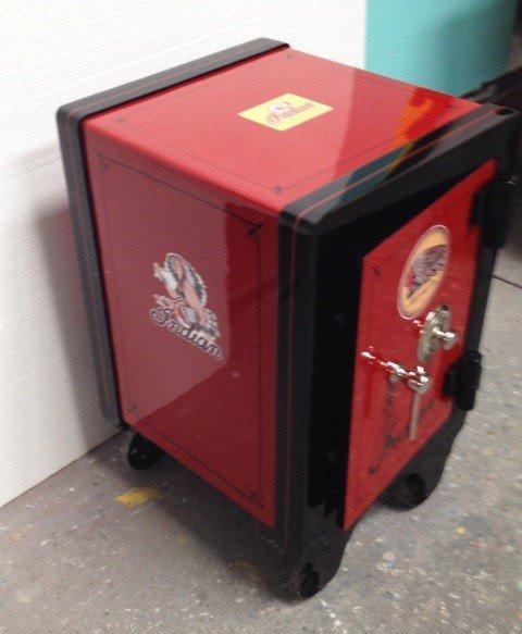 """Restored medium sized Antique Safe """"Indian M/C"""" motif."""