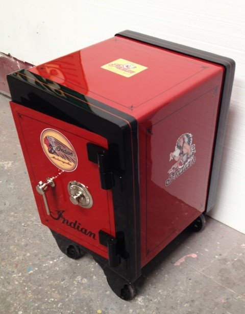 """Restored medium sized Antique Safe """"Indian M/C"""" motif. - 2"""
