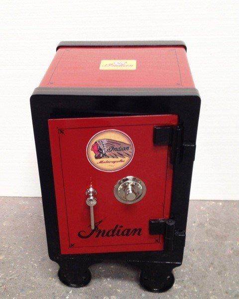 """Restored medium sized Antique Safe """"Indian M/C"""" motif. - 3"""