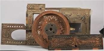 Box Lot Of Cast-Iron Upright Slot Machine Parts.