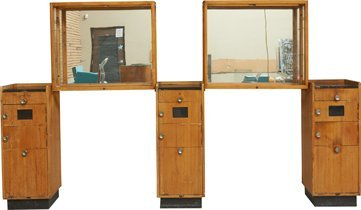 Lot Of 2 Mirrored Display Cases & 3 Barber Station Cabi