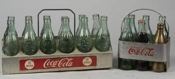 Lot Of 2 Coca Cola Bottle Carriers w Glass Coca Cola