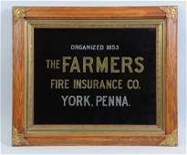 Farmers Fire Insurance Reverse on Glass Sign