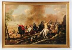 Oil On Canvas Battle Scene Painting.