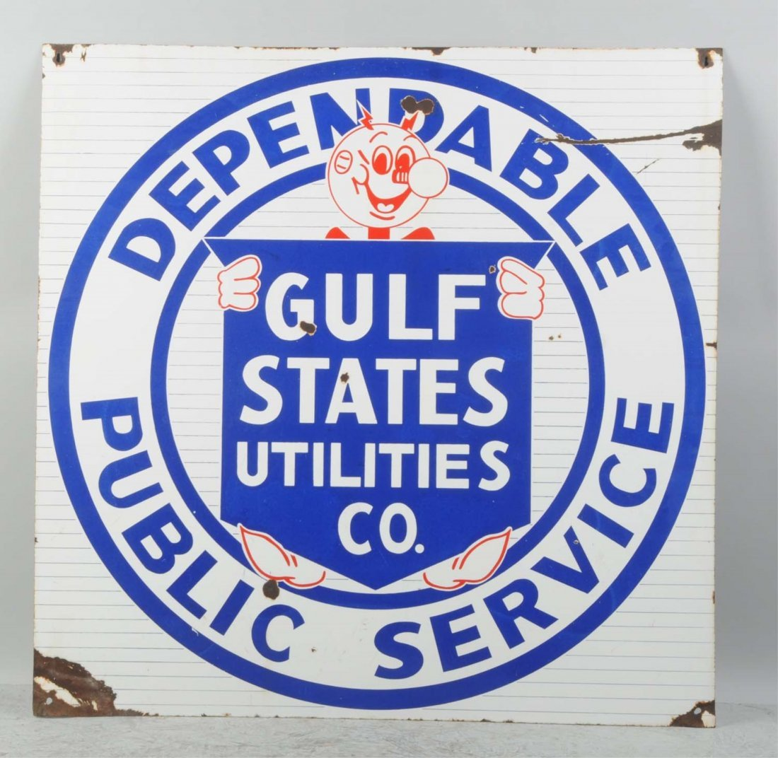 Porcelain Gulf State Utilities Sign.