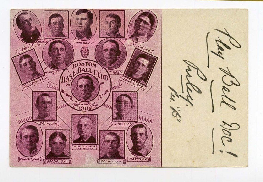 1906 Boston Beaneaters Baseball Team Postcard.